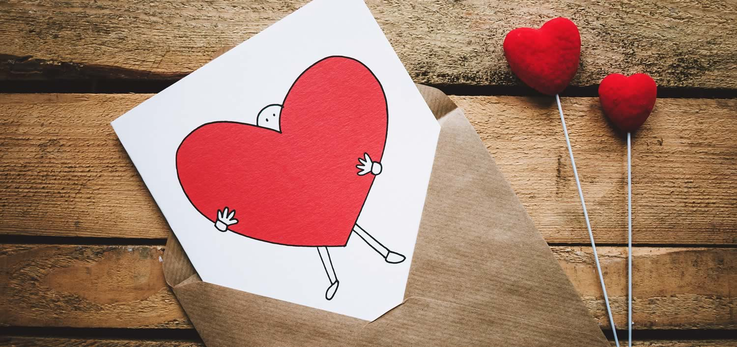 Greeting card with large heart.