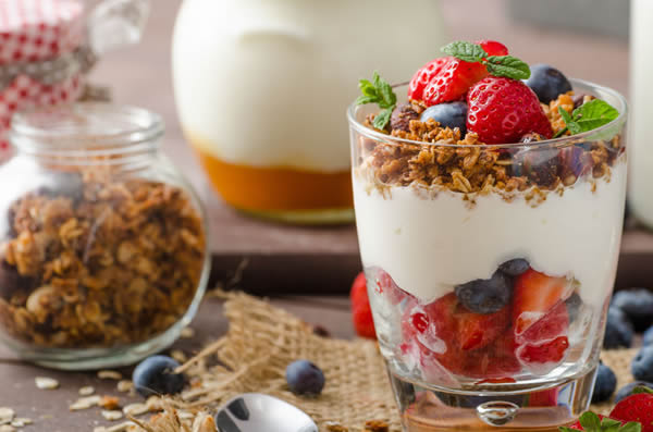 Yogurt with fruit.
