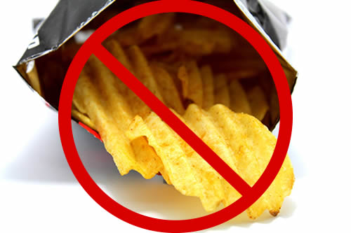 "Open bag of potato chips with circle and bar ""no"" symbol superimposed."