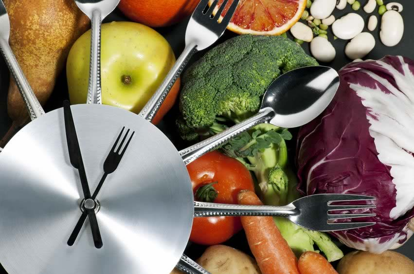 Clock made from knife and fork, illustrating eating and time.