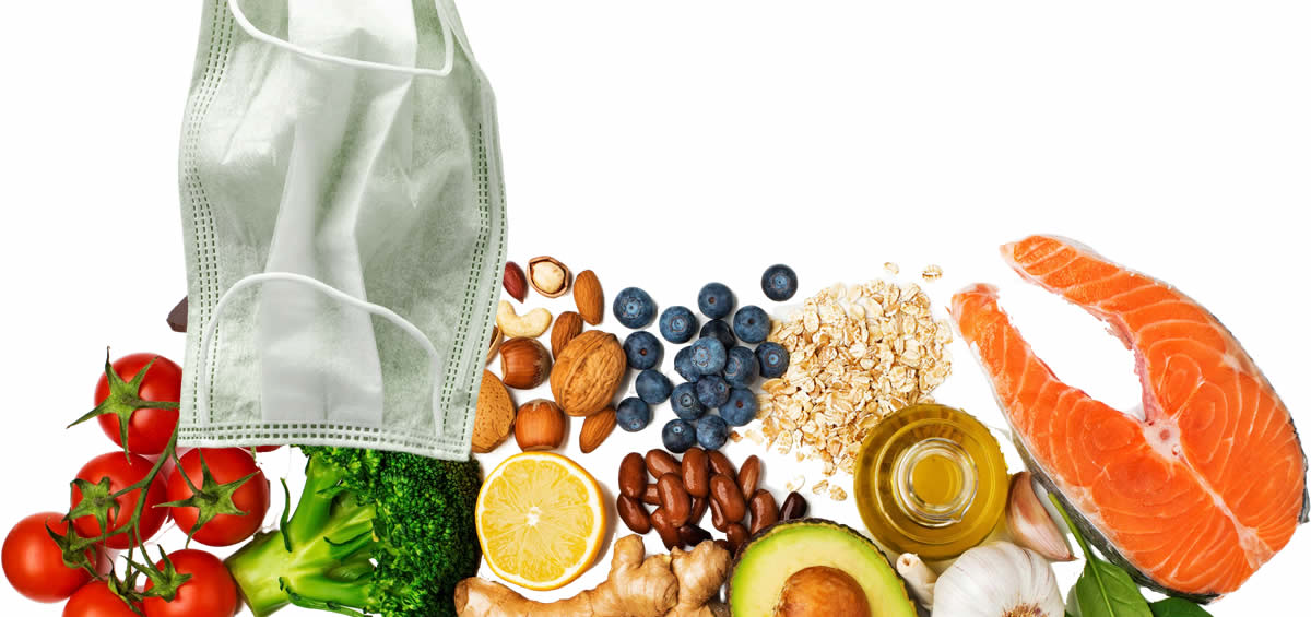 Medical face mask with nutritious fresh foods.